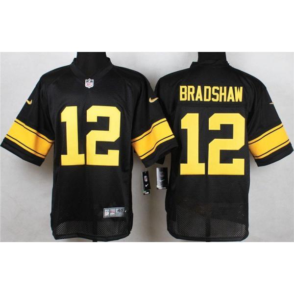 [Elite]Terry Bradshaw Pittsburgh Football Team Jersey(Black, Yellow ...