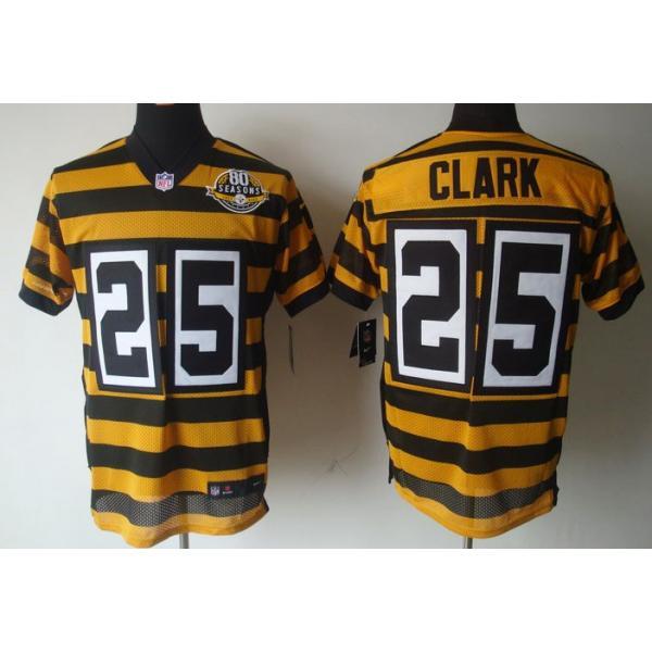 [Elite]Ryan Clark Pittsburgh Football Team Jersey(Yellow 80 Seasons)