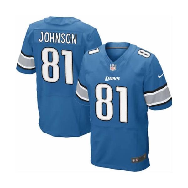[Elite] Calvin Johnson Football Jersey -Detroit #81 Jersey(Blue)