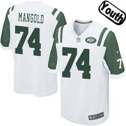 newest 24be0 4f850 [Sewn-on]Nick Mangold Youth Football Jersey - NY-J #74 MANGOLD Jersey  (White) For Youth/Kids
