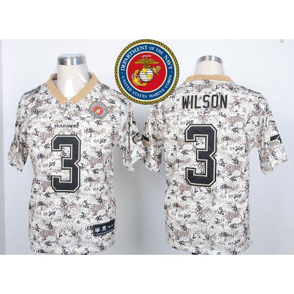 promo code b4447 cdff9 Seattle #3 Russell Wilson Desert Digital Camo football jersey on sale