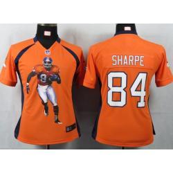 the best attitude bd64c 212af [Portrait Fashion] SHARPE Denver #84 Womens Football Jersey - Shannon  Sharpe Womens Football Jersey (Orange)_Free Shipping