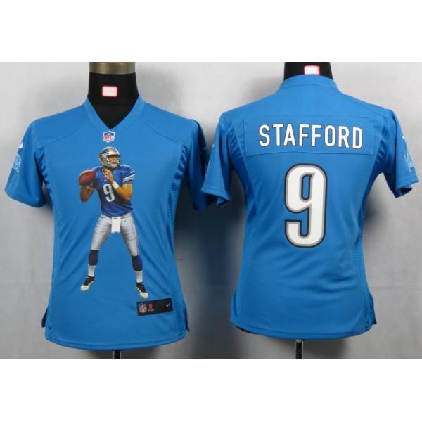new products e0c05 996bc [Portrait Fashion]Detroit #9 Matthew Stafford womens jersey Free shipping