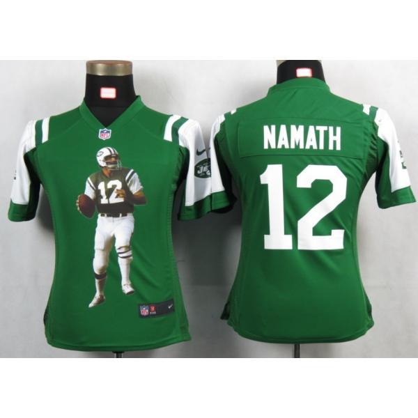 premium selection b701d 32bb7 [Portrait Fashion]NY-Jet #12 Joe Namath womens jersey Free shipping