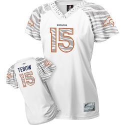 buy online 1ca98 457f5 [Zebra Field Flirt] TEBOW Denver #15 Womens Football Jersey - Tim Tebow  Womens Football Jersey (White)_Free Shipping