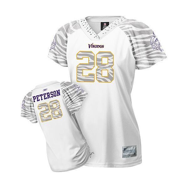 [Zebra Field Flirt]Minnesota #28 Adrian Peterson womens jersey ...