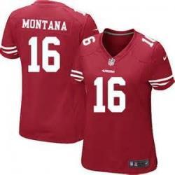 san francisco bcfbf a9182 [Game] MONTANA SF #16 Womens Football Jersey - Joe Montana Womens Football  Jersey (Red)_Free Shipping