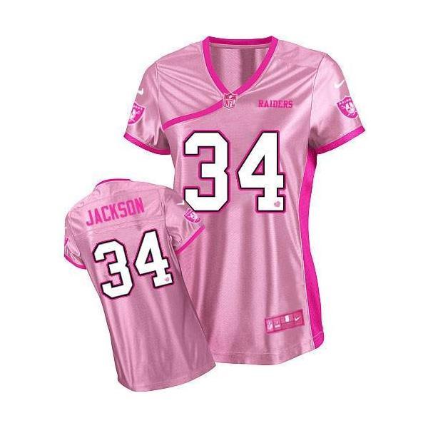 Love pink  JACKSON Oakland  34 Womens Football Jersey - Bo Jackson Womens  Football 779763782
