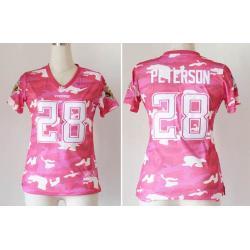 Pink Camo]Minnesota #28 Adrian Peterson womens jersey Free shipping