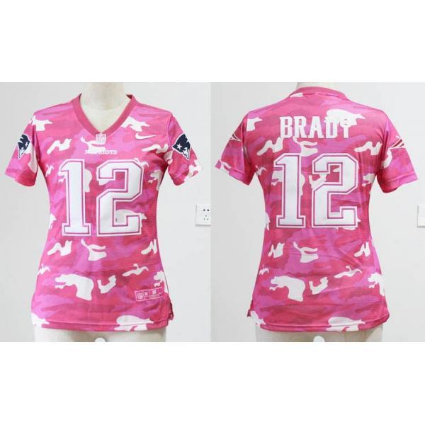 [Pink Camo]New England #12 Tom Brady womens jersey Free ...
