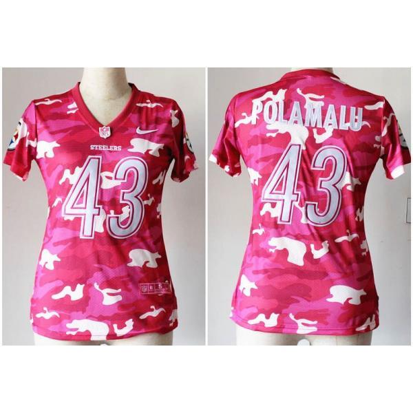 wholesale dealer 62f56 3a1e7 [Pink Camo]Pittsburgh #43 Troy Polamalu womens jersey Free shipping