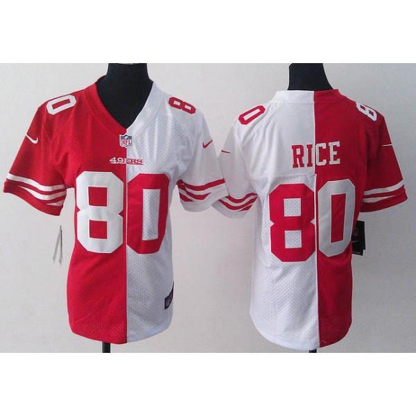 hot sale online f15c5 68782 [Split]SF #80 Jerry Rice womens jersey Free shipping