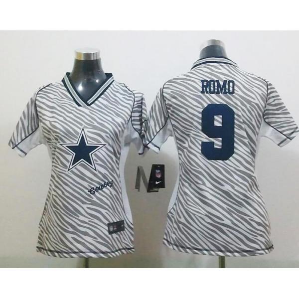 innovative design 72a68 f6c45 [Zebra Fashion]Dallas #9 Tony Romo womens jersey Free shipping