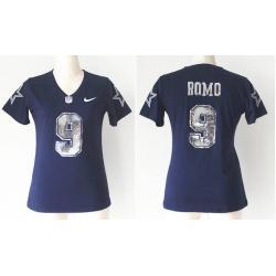 size 40 fbec0 d89e4 [Handwork Sequin Lettering]ROMO Dallas #9 Womens Football Jersey - Tony  Romo Womens Football Jersey (Blue)