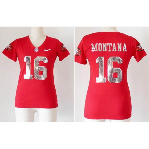 8409ab6eb  Handwork Sequin Lettering MONTANA SF  16 Womens Football Jersey - Joe  Montana Womens